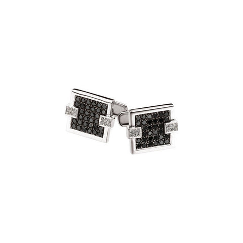 Men's Cufflinks- 14kt White Gold with Black and Clear CZs (1 CT
