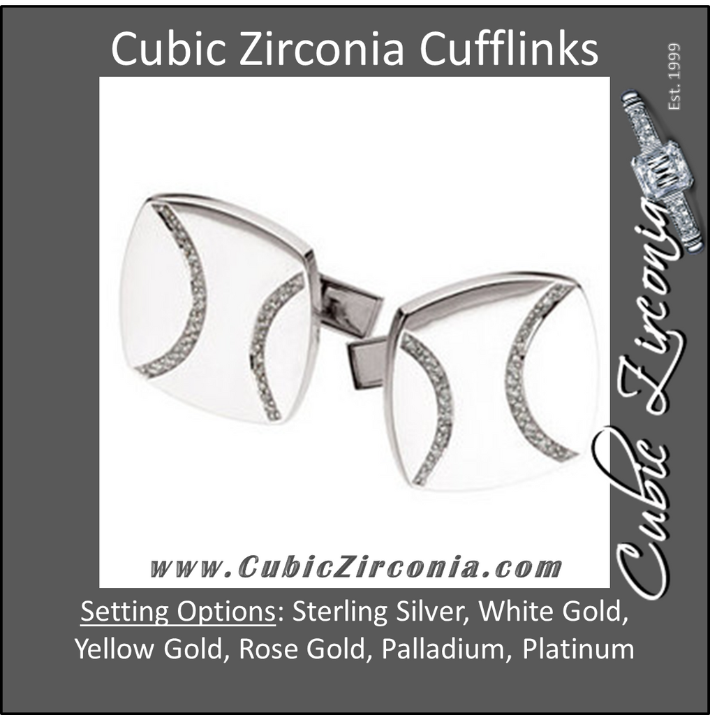 Men's Cufflinks- 0.25 CTW Rounded Rectangle with Gemstone Ribbons