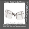 Men's Cufflinks- 0.25 CTW Rounded Rectangle with Gemstone Cross-Lines