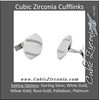 Men's Cufflinks- 0.27 CTW Squared Oval with Gemstone Line Accents