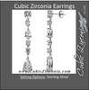 Cubic Zirconia Earrings- Fancy Dangle Sterling Silver Earring Set with Pear and Round Cut CZ