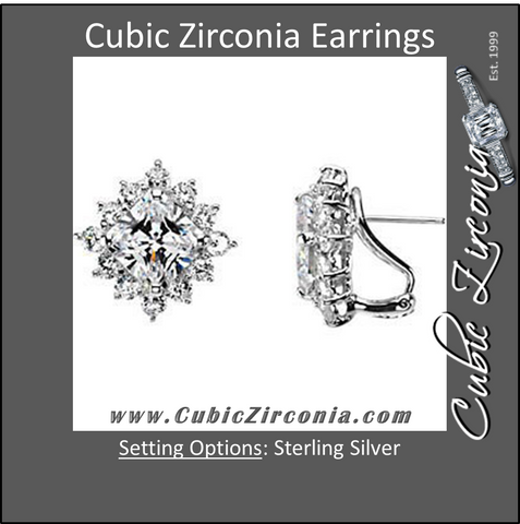 Cubic Zirconia Earrings- 11.24 Carat, 52-stone Princess Cut Diamond Shaped Halo Earring Set