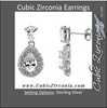Cubic Zirconia Earrings- 7.05 Carat Pear Cut Halo Dangle Earring Set