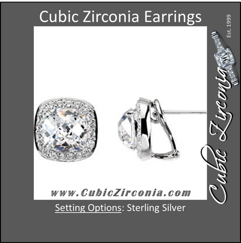 Cubic Zirconia Earrings- 14.2 Carat Halo Cushion Cut French Back Earring Set