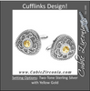 Men's Cufflinks- Sterling Silver & 14K Yellow Gold Two-Tone