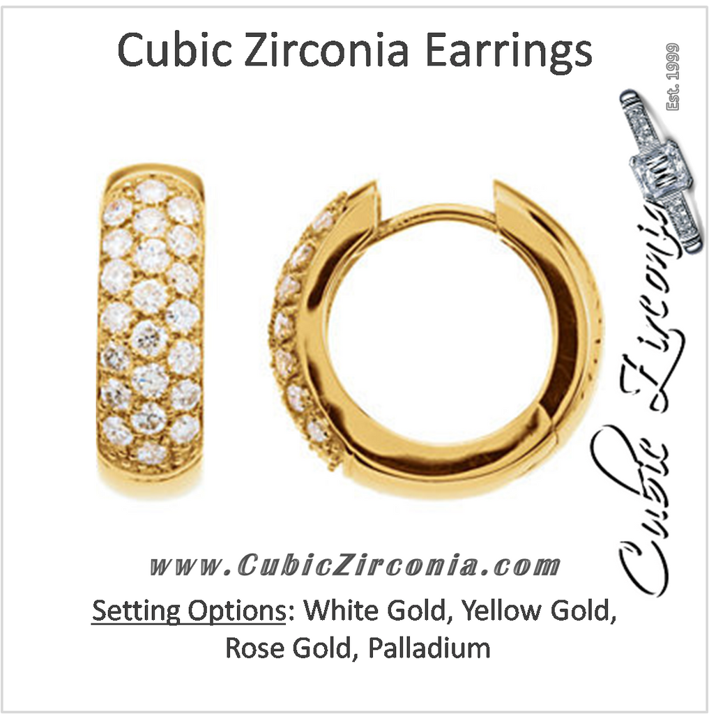 Cubic Zirconia Earrings- 0.90 Carat 3-Row Round Cut Hoop Earring Set