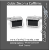 Men's Cufflinks- 40-stone Design with Black Enamel Center (0.25 CTW Pair)