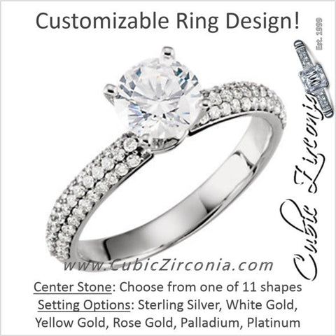 Cubic Zirconia Engagement Ring- The ________ Naming Rights 67-547 (Customizable Center w/ Triple Pavé)