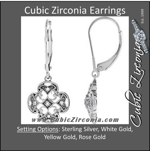 Cubic Zirconia Earrings- Sterling Silver .07 CTW CZ Accented Lever Back