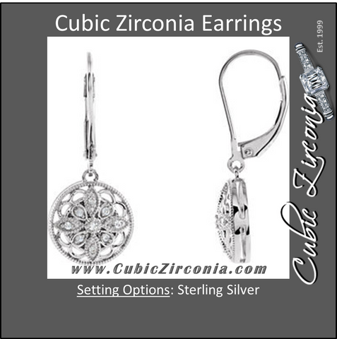 Cubic Zirconia Earrings- Sterling Silver 1/10 CTW Lever Back