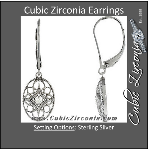 Cubic Zirconia Earrings- Sterling Silver .06 CTW CZ Lever Back