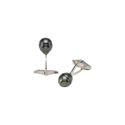 Men's Cufflinks- Black Tahitian Cultured Pearls