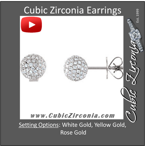 Cubic Zirconia Earrings- Pave Ball
