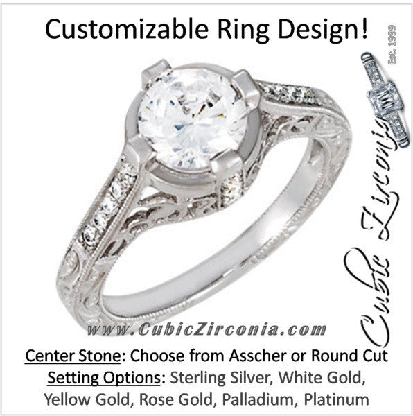 Cubic Zirconia Engagement Ring- The ________ Naming Rights 69-811 (1.13 Carat Vintage with Hand-Engraved Band and Prong Accents)