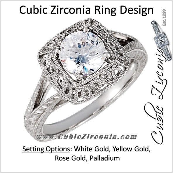 Cubic Zirconia Engagement Ring- The Angel (1 Carat Round Solitaire with Split-Band and Engraved Mega-Mounting)