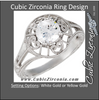 Cubic Zirconia Engagement Ring- The Anne (Round 1 Carat Solitaire with Heart-Engraved Band)