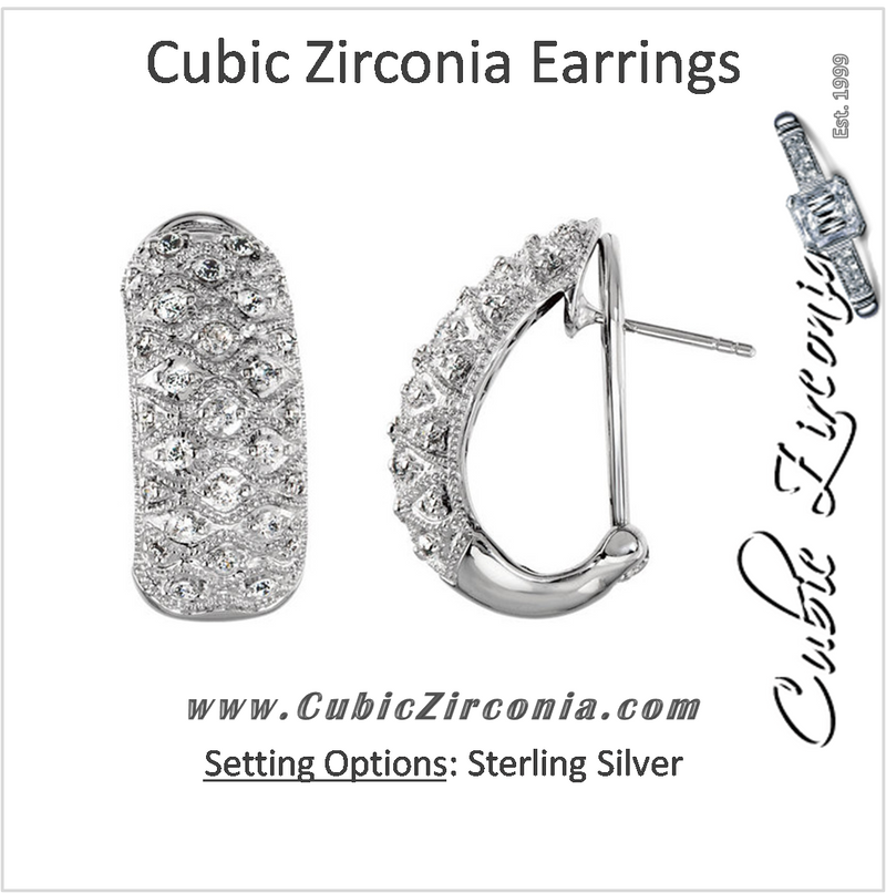 Cubic Zirconia Earrings- 0.75 Carat Round Cut Engraved Sterling Silver Earring Set