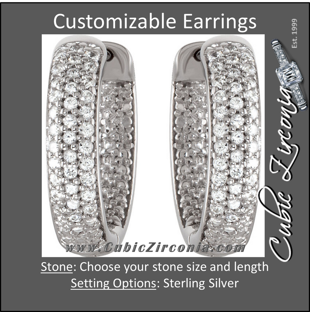 Cubic Zirconia Earrings- Customizable Sterling Silver Three Row CZ Inside/Outside Hoop Earring Set