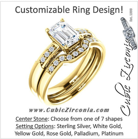 CZ Wedding Set, Style 034 featuring The Gabrielle engagement ring (Customizable Center featuring Round Side Stones and Filigree)