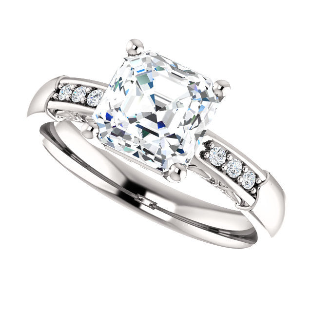 Cubic Zirconia Engagement Ring- The Gabrielle (Customizable Center featuring Round Side Stones and Filigree)