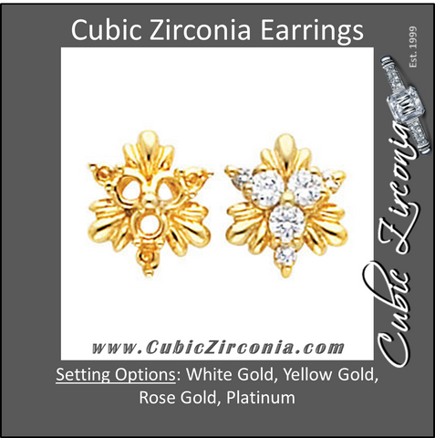 Cubic Zirconia Earrings- 0.50 Carat Round Cut Cluster Style Flower Motif Earring Set