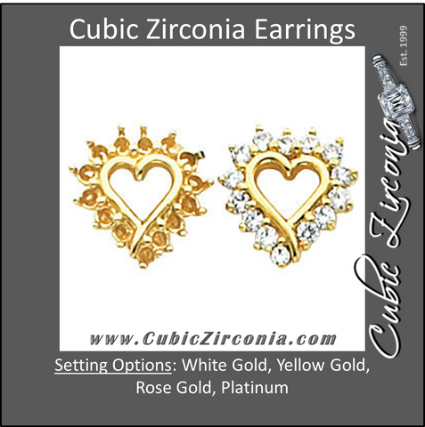 Cubic Zirconia Earrings- 0.54 Carat Heart-Shaped Halo Earring Set