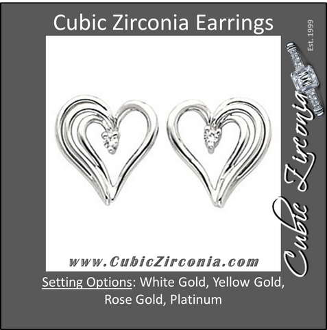 Cubic Zirconia Earrings- 0.04 Carat Heart Inspired Stud Earring Set