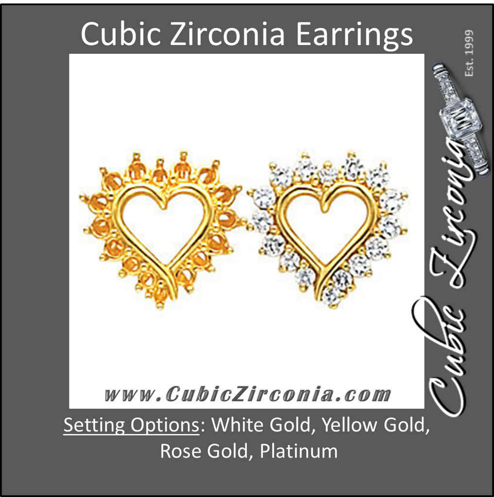 Cubic Zirconia Earrings- 0.90 Carat Heart Inspired Round Cut Prong Earring Set