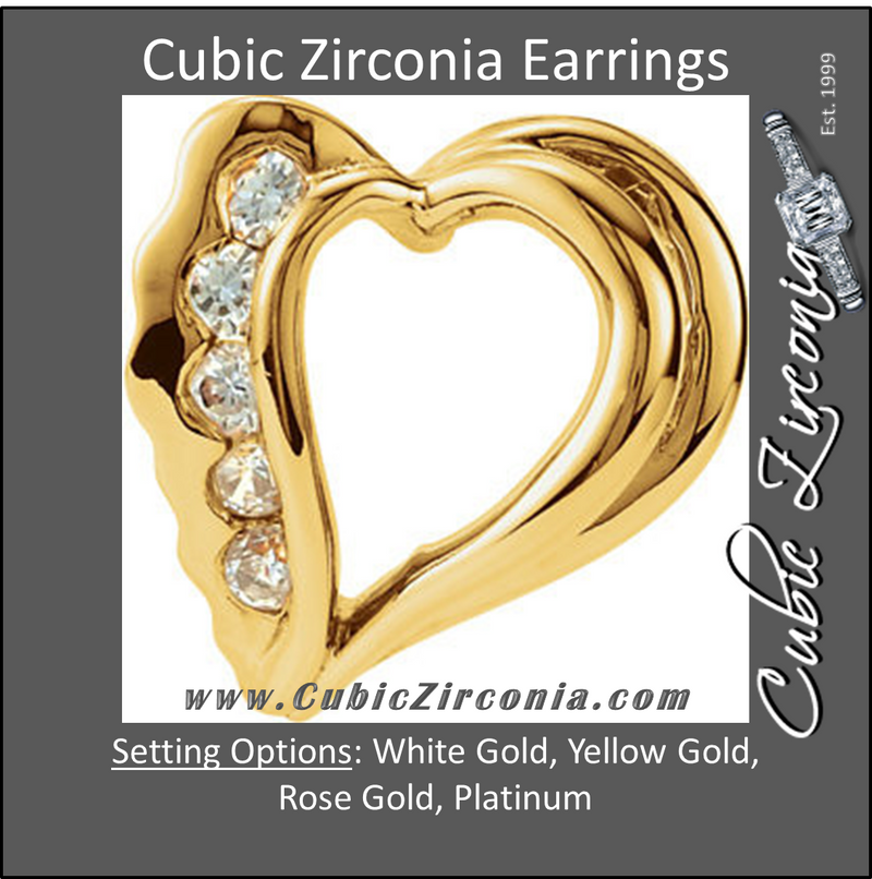 Cubic Zirconia Earrings- 0.16 Carat Heart Inspired Round Cut Channel Earring Set