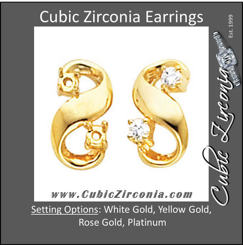 Cubic Zirconia Earrings- 0.16 Carat Round Cut Swirl Earring Set