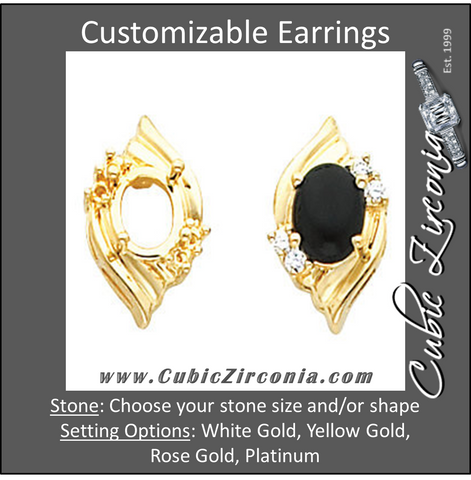 Cubic Zirconia Earrings- Customizable Seashell-Inspired Oval Center Earring Set
