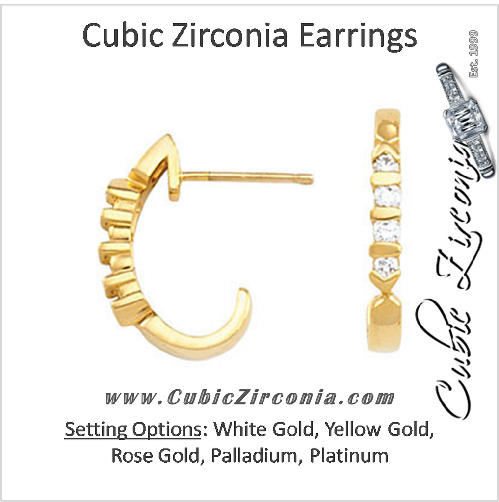 Cubic Zirconia Earrings- 0.20 Carat Round Cut Channel Set J Hoop Earring Set