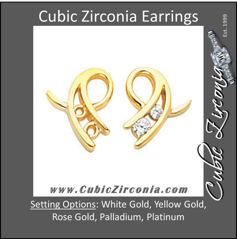 Cubic Zirconia Earrings- 0.20 Carat Ribbon Inspired Round Cut Channel Earring Set