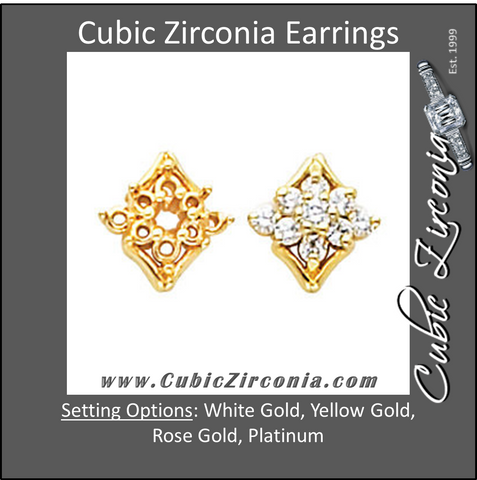 Cubic Zirconia Earrings- 0.40 Carat Floral Inspired Round Cut Stud Earring Set
