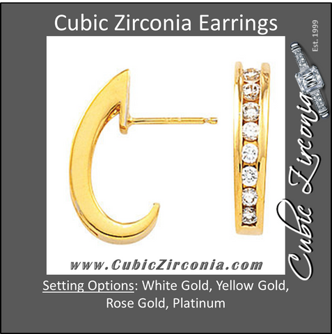 Cubic Zirconia Earrings- 0.50 Carat Graduated Round Cut J Hoop Earring Set