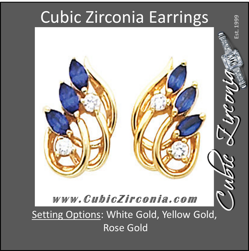 Cubic Zirconia Earrings- 0.66 Carat Wing Inspired Round and Marquise Cut Earring Set