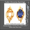 Cubic Zirconia Earrings- 1.04 Carat 3-stone Drop Earring Set with Oval Center