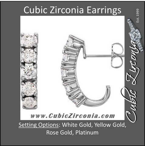 Cubic Zirconia Earrings- 1.60 Carat 5-Stone Round Cut J Hoop Dangle Earring Set