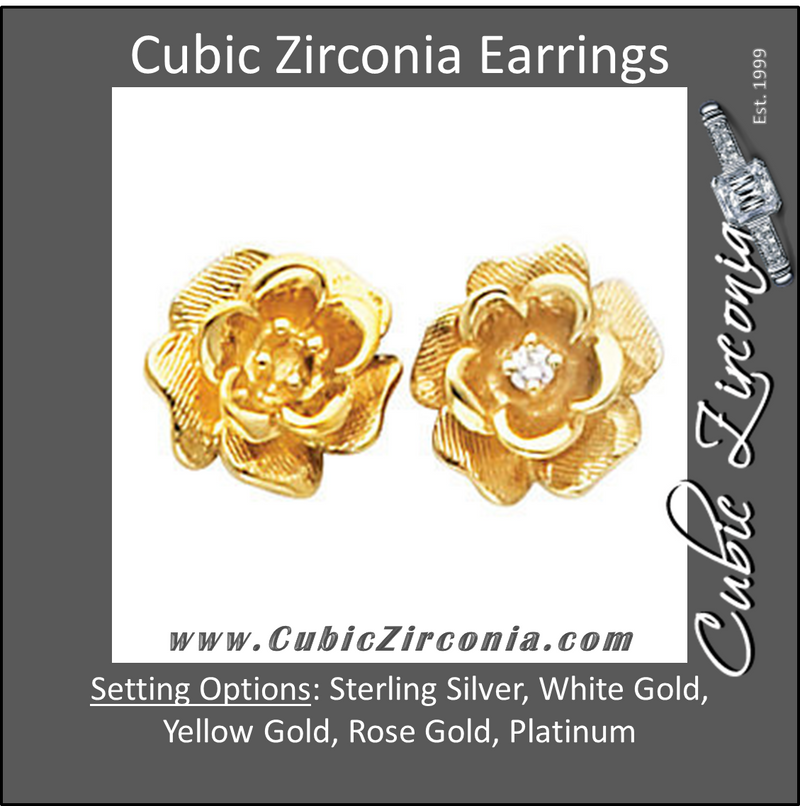 Cubic Zirconia Earrings- 0.06 Carat Rose Shaped CZ Earring Set