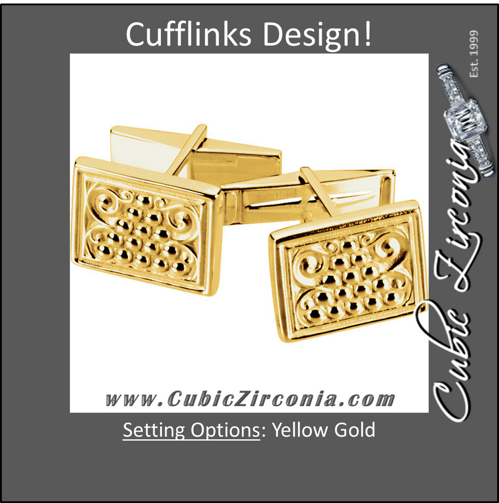 Men's Cufflinks- Yellow Gold Rugged Style Rectangular Design with Hand-Engraving