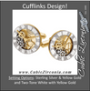 Men's Cufflinks- 14K Gold Two-Tone Clock Design with Over-sized Setting