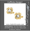 Men's Cufflinks- Two-Tone Design with Beveled Center and Surrounding Gold Braidwork