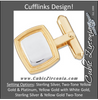 Men's Cufflinks- Two-Tone Engravable Rounded Rectangles