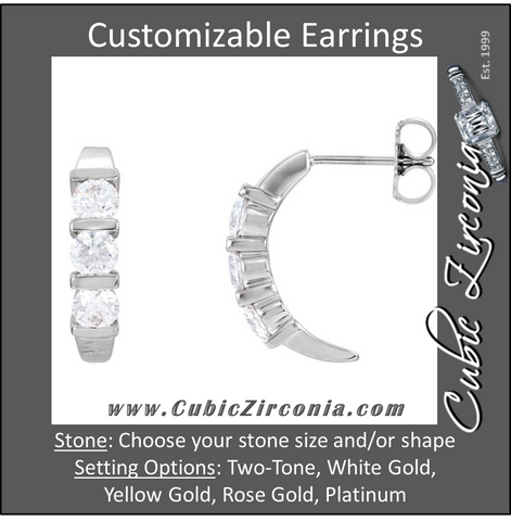 Cubic Zirconia Earrings- Customizable 3-Stone Round Cut Hoop Earring Set