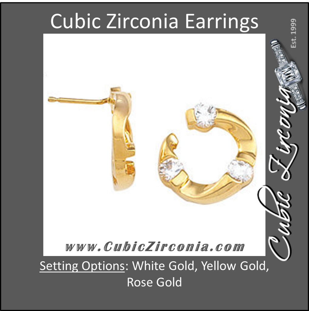 Cubic Zirconia Earrings- 1.50 Carat 3-Stone Round Cut Stud Earring Set