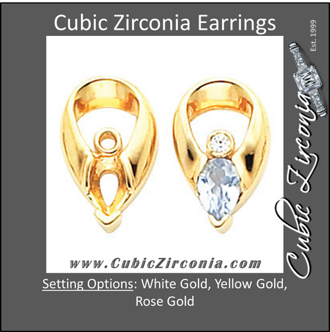 Cubic Zirconia Earrings- Pear Shape Center