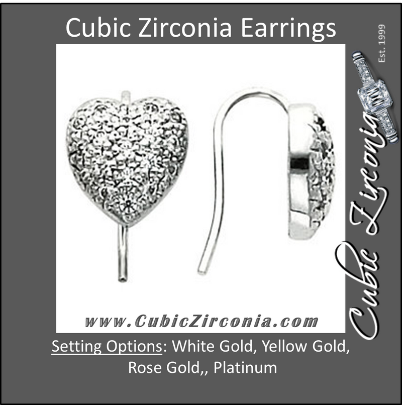Cubic Zirconia Earrings- 0.54 Carat Heart Inspired Faux Pave Earring Set