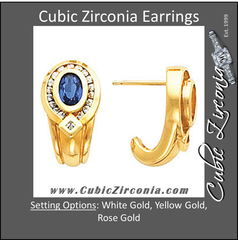 Cubic Zirconia Earrings- 1.40 Carat Oval Halo Style Dangle Earring Set