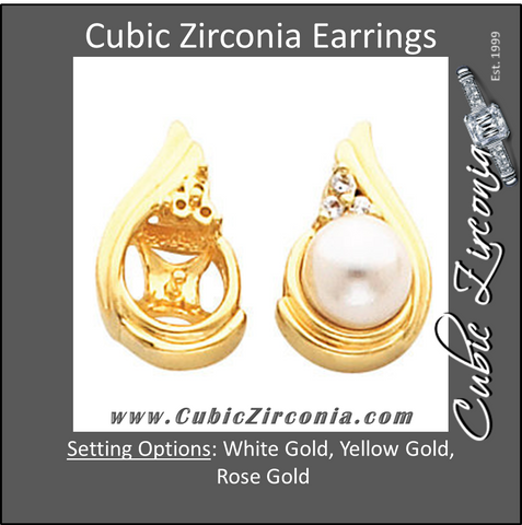 Cubic Zirconia Earrings- Three-Stone Tear-drop Pearl Stud Earring Set