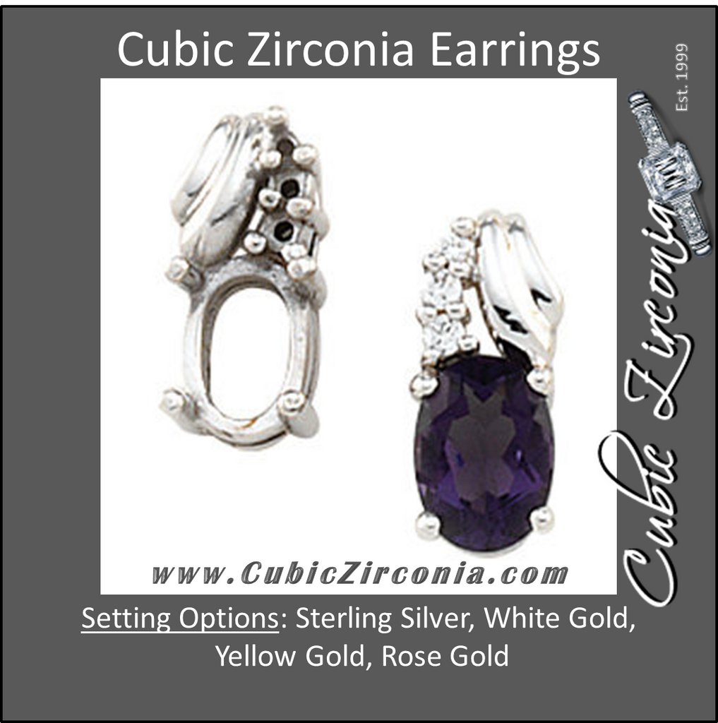Cubic Zirconia Earrings- 2.10 Carat Drop Earring Set with Oval Center
